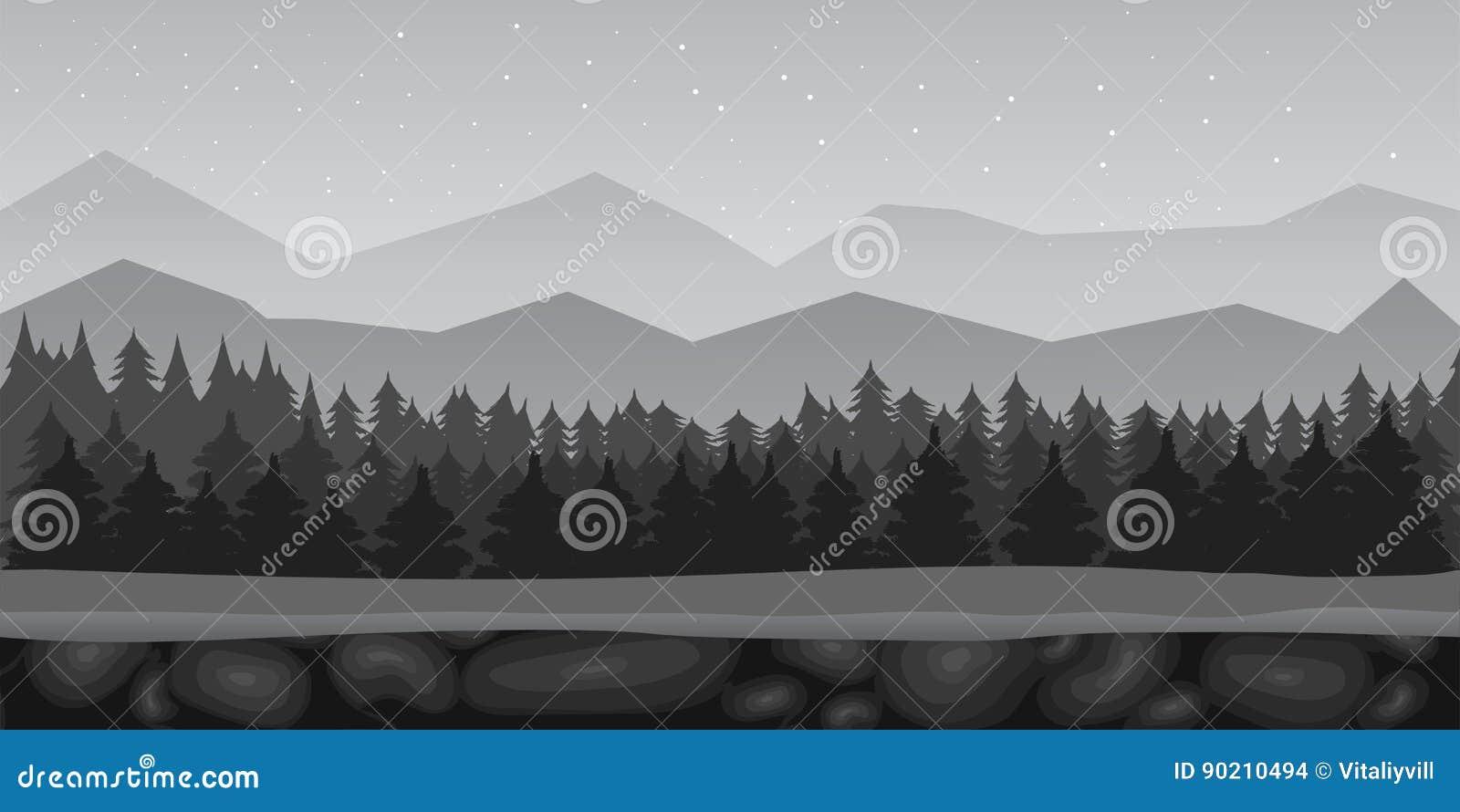 Paisagem Preto E Branco Do Fundo Do Jogo Da Floresta Dos