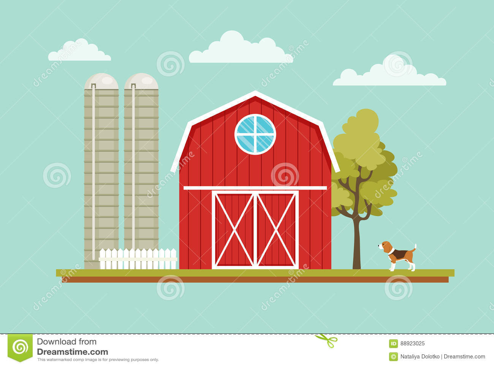 Paisagem rural com uma casa do celeiro