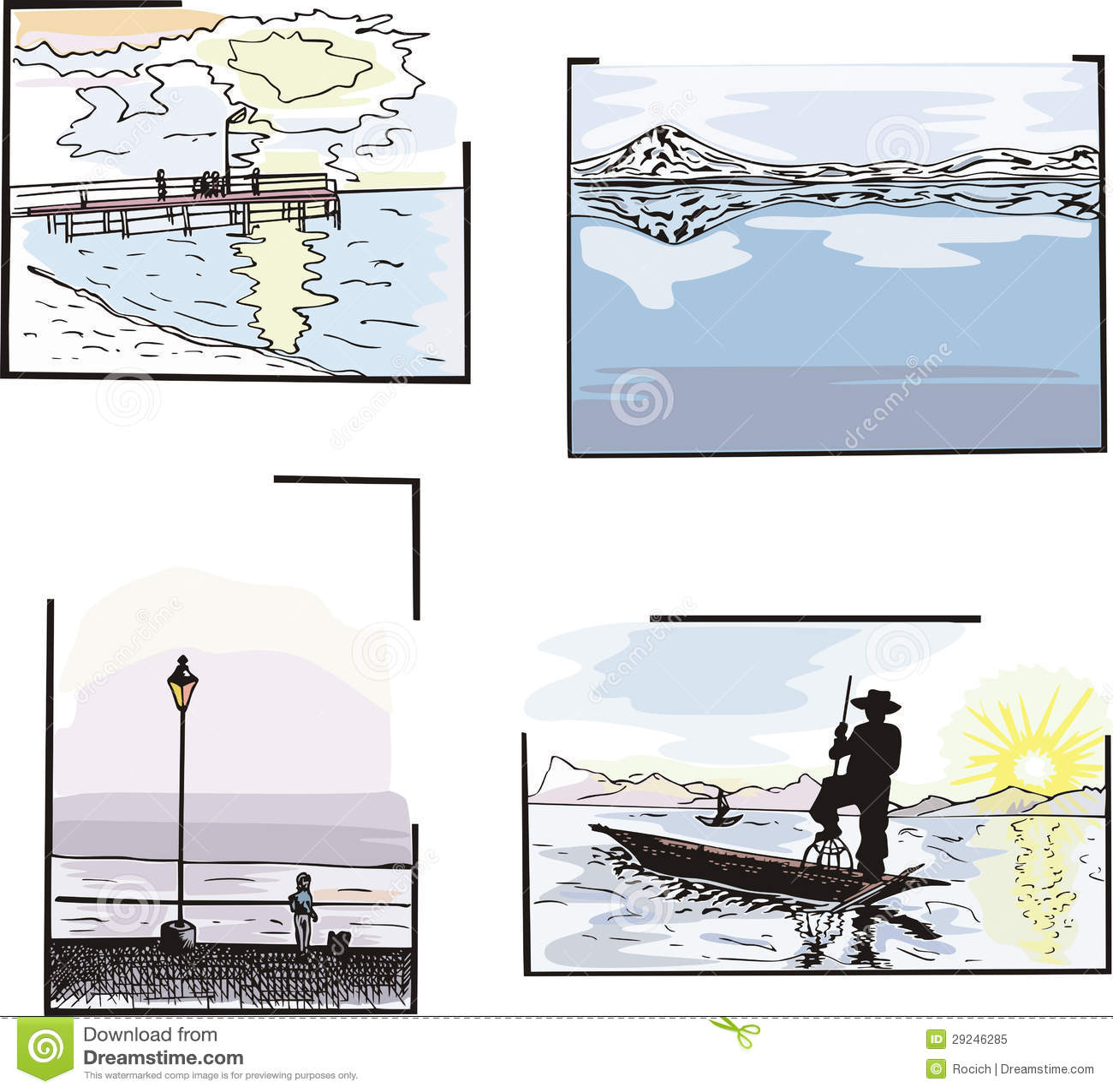 Download Paisagens da água ilustração do vetor. Ilustração de tranquil - 29246285