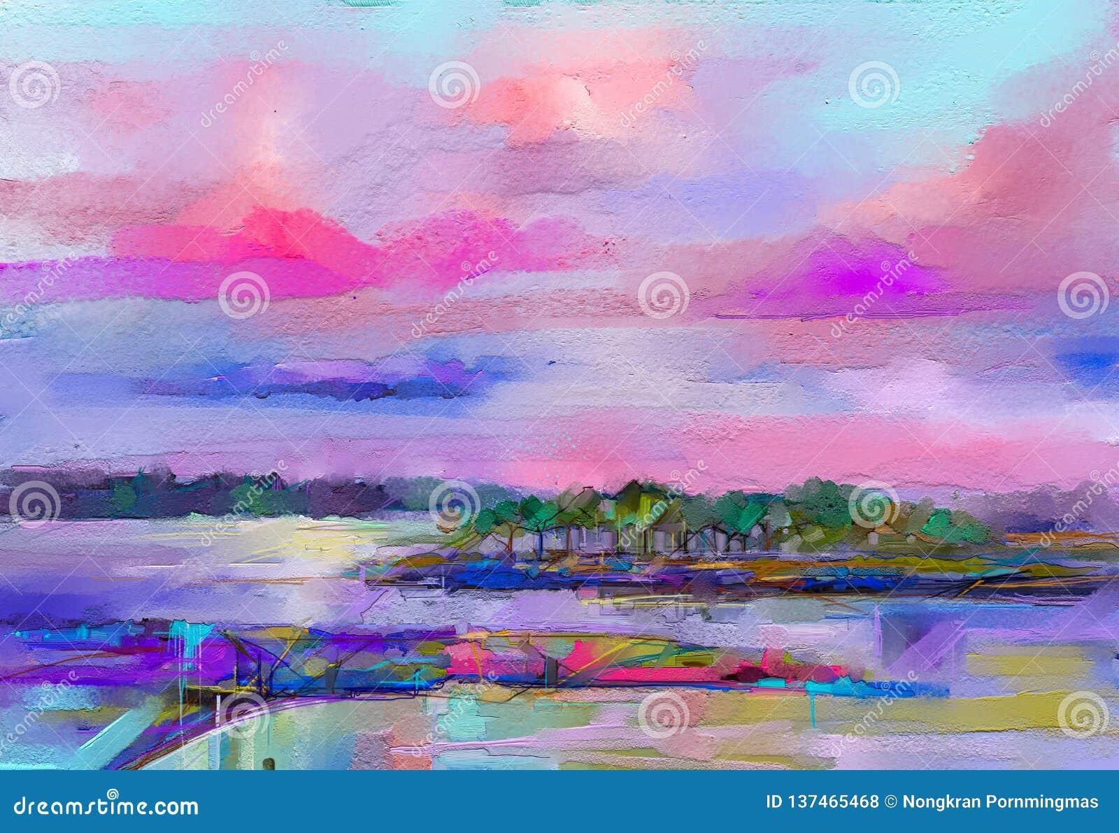 Paisaje abstracto de la pintura al óleo Cielo púrpura azul colorido Pintura al óleo al aire libre en lona Árbol semi abstracto, c