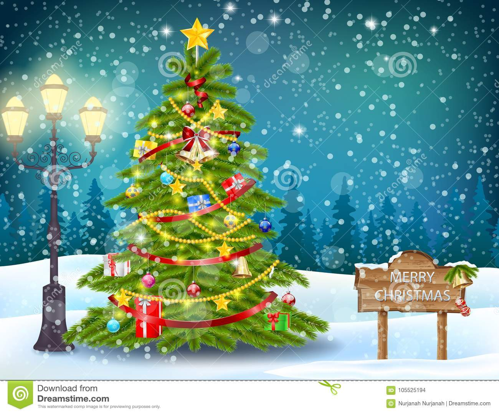 Paisaje adornado del árbol de navidad