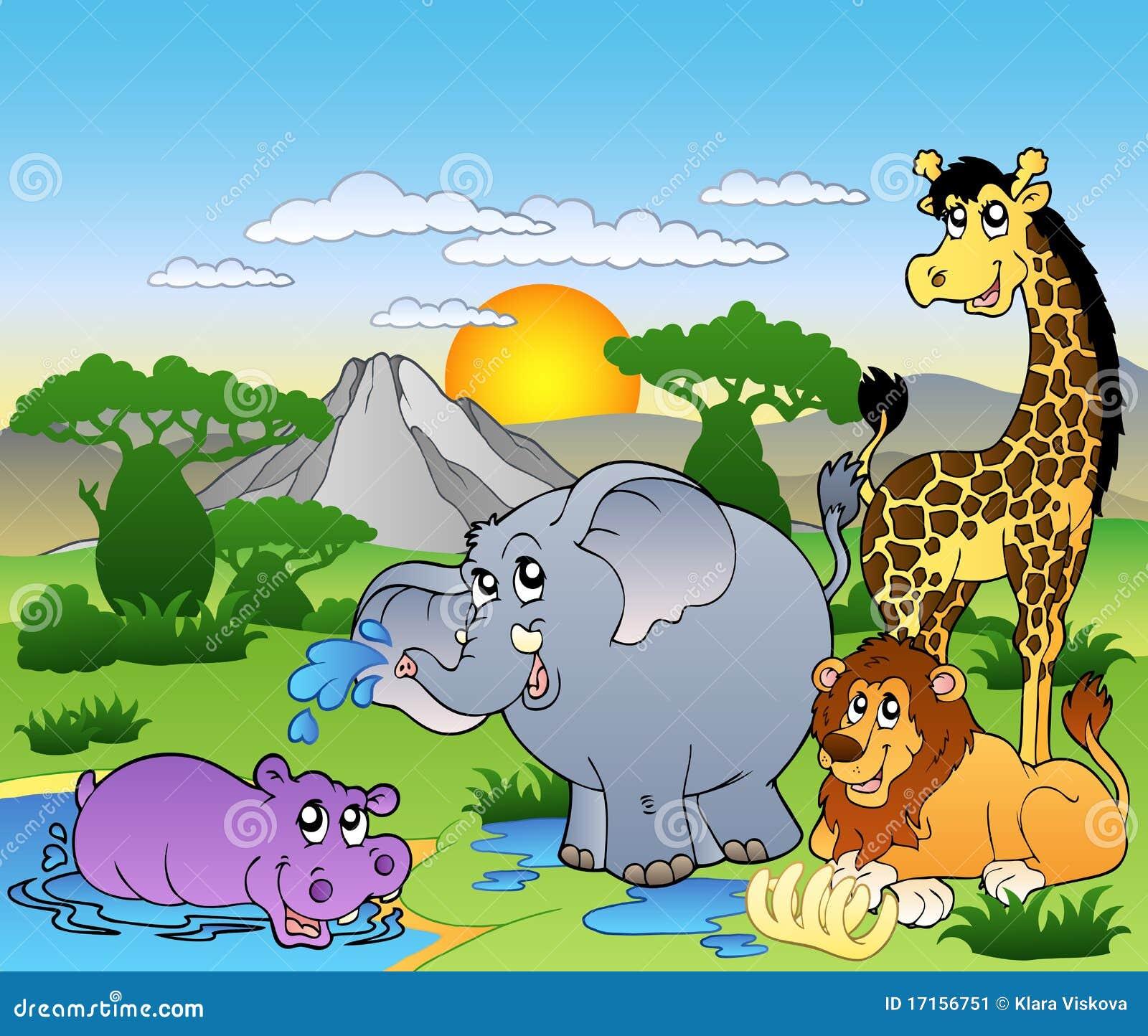 Paisaje africano con cuatro animales ilustración del