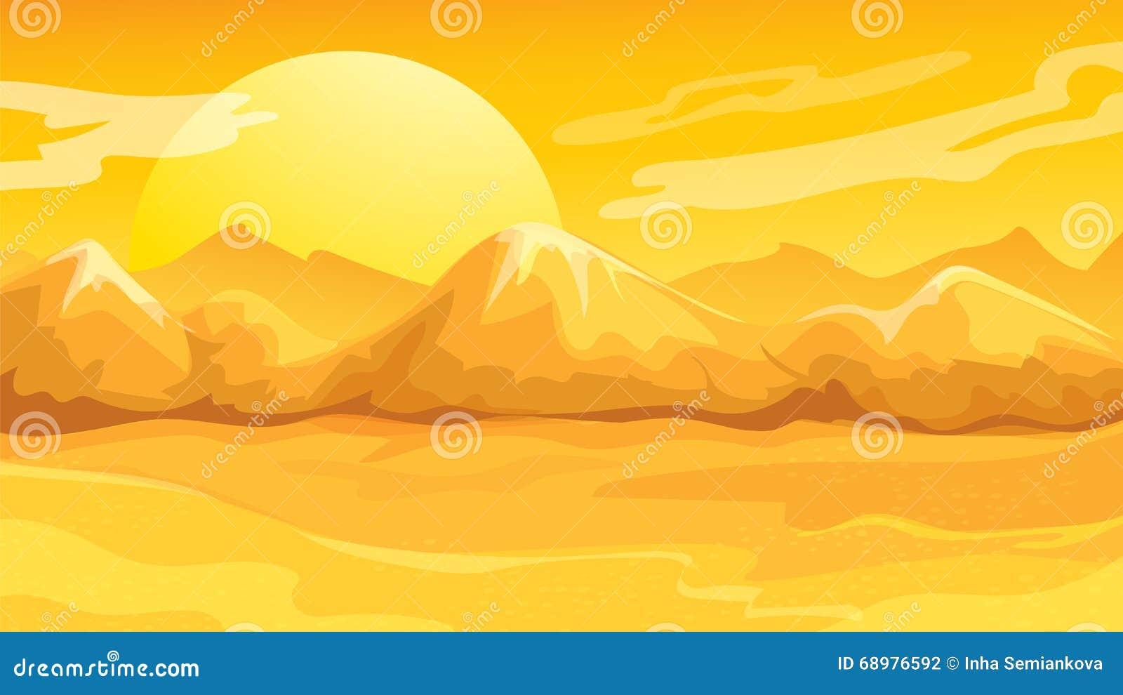 Paisaje amarillo del desierto de la puesta del sol