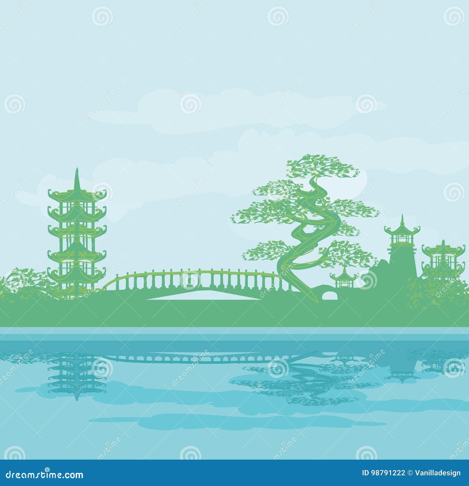 Paisaje asiático abstracto del templo