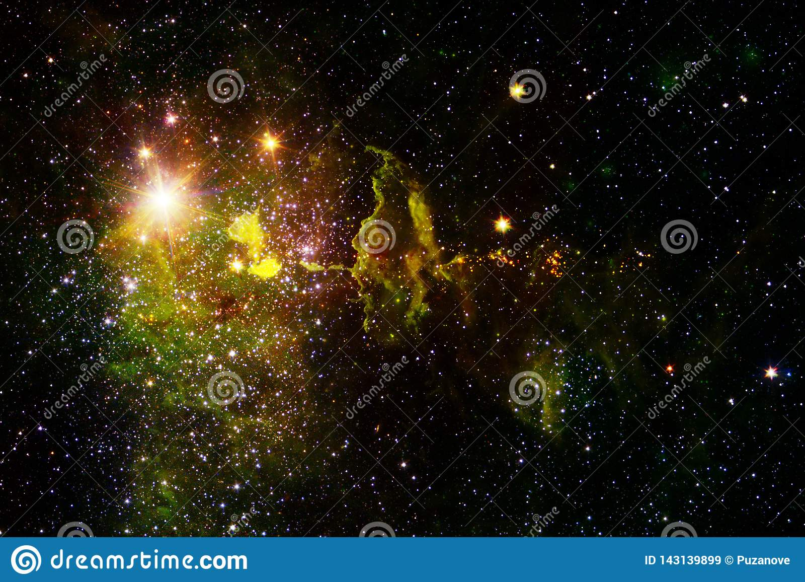 Paisaje c?smico, papel pintado impresionante de la ciencia ficci?n con el espacio exterior sin fin