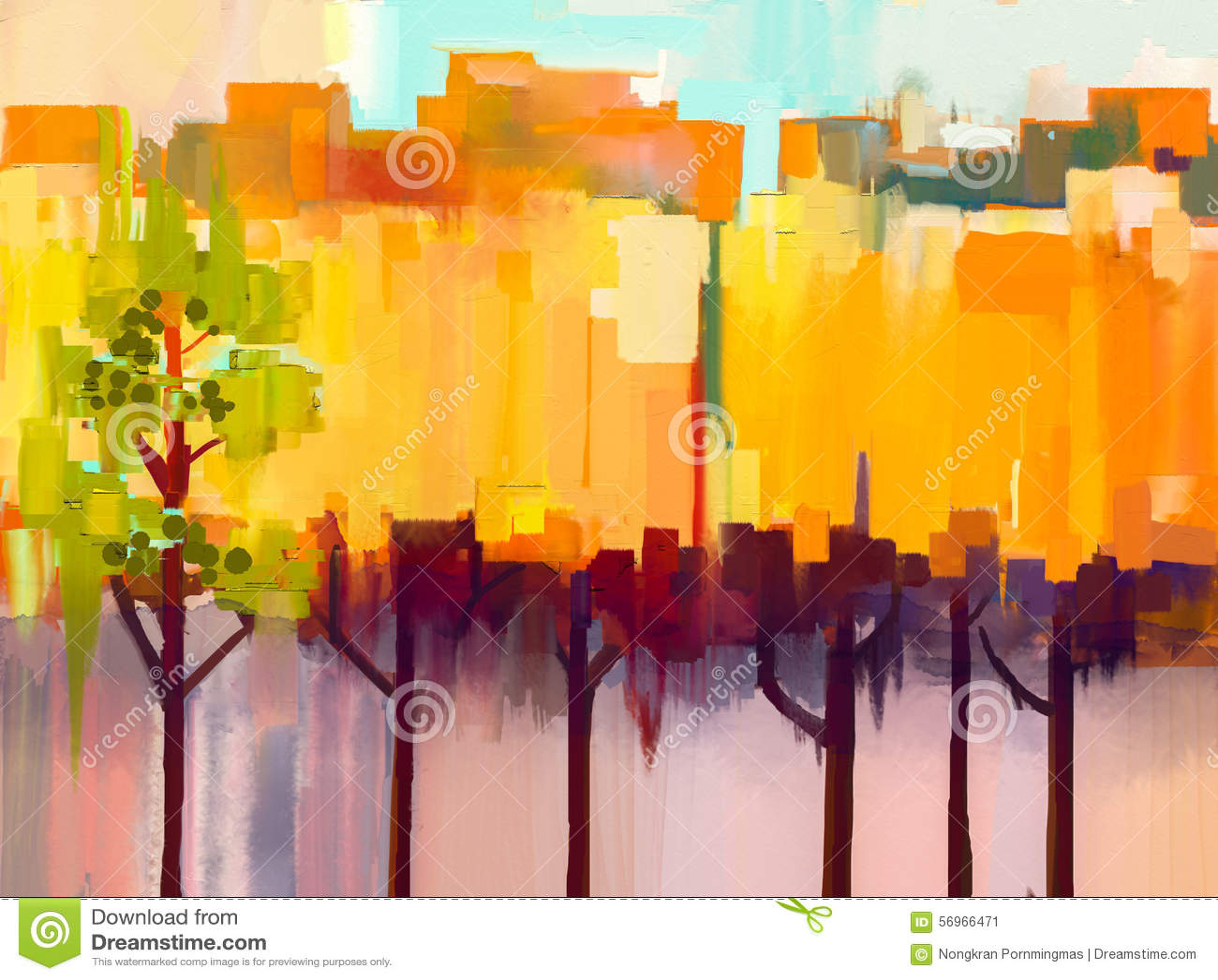 Paisaje colorido abstracto de la pintura al óleo