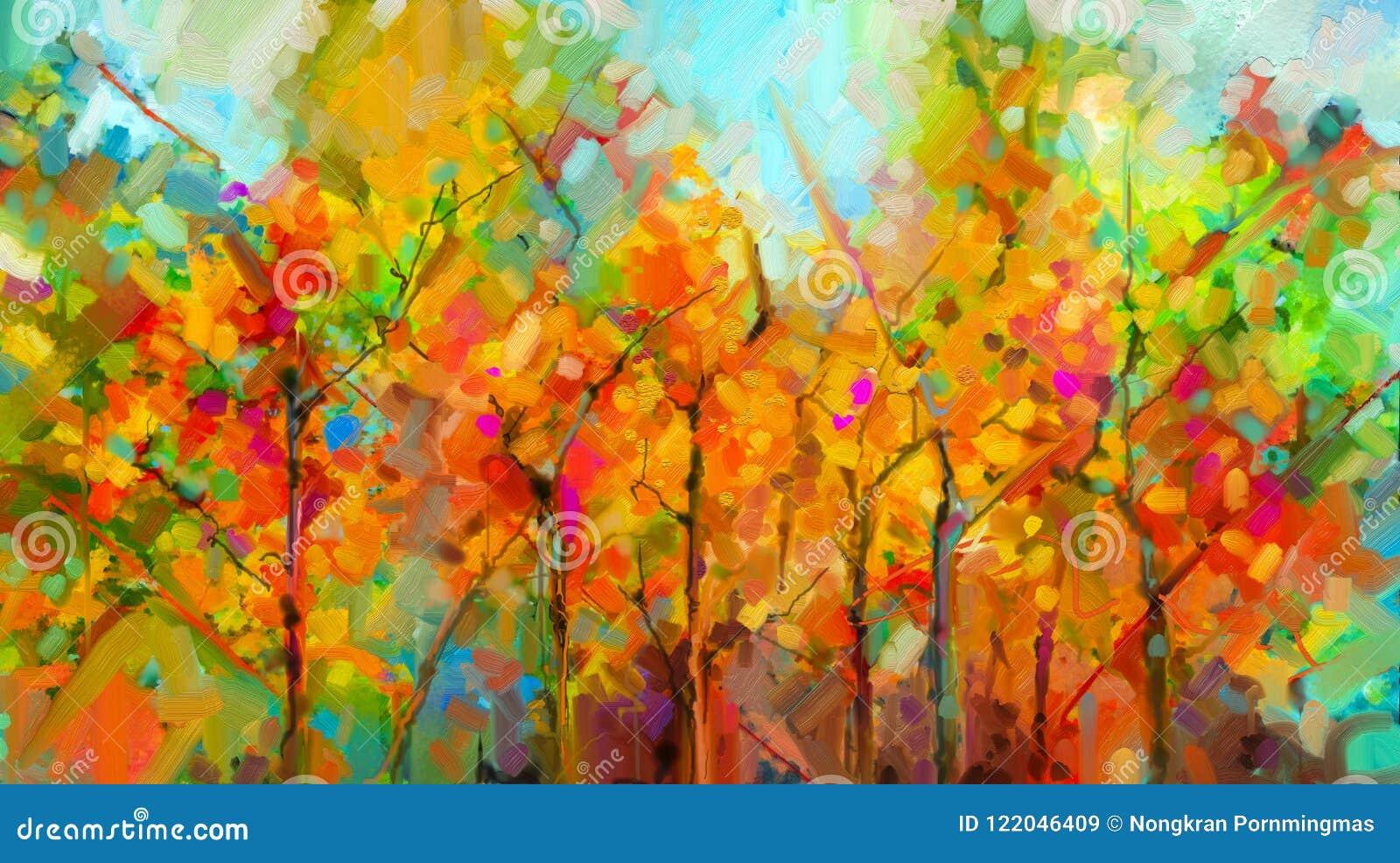 Paisaje colorido abstracto de la pintura al óleo en lona Primavera, fondo de la naturaleza de la estación de verano