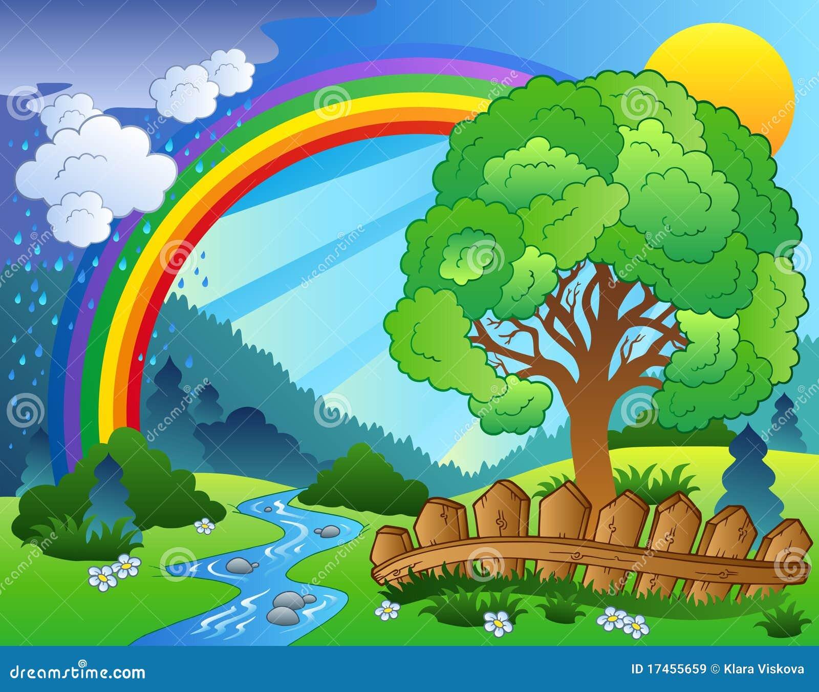 Paisaje con el arco iris y el árbol