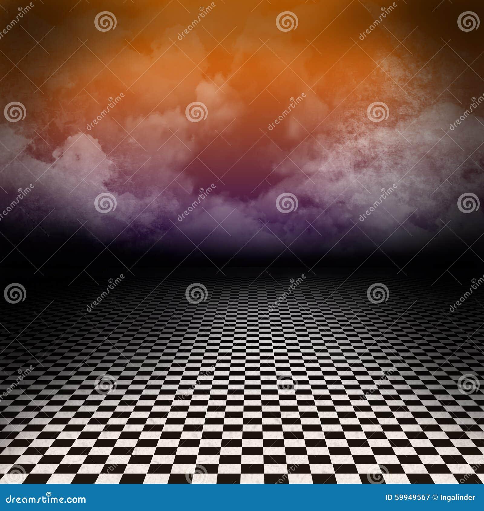Paisaje con el piso blanco y negro del inspector y las nubes coloridas