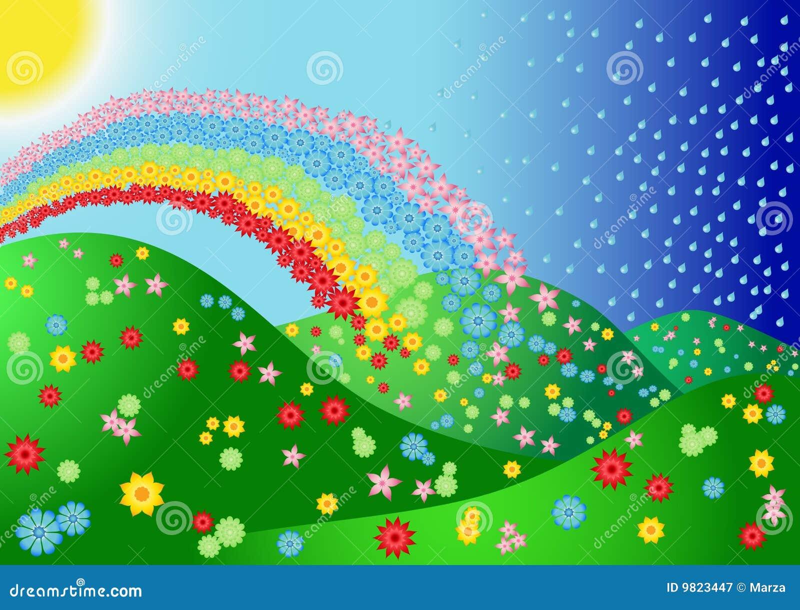 Paisaje con la flor y el arco iris