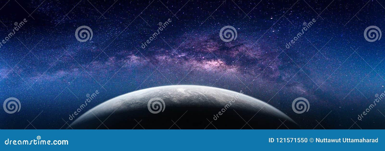 Paisaje con la galaxia de la vía láctea Opinión de la tierra del espacio con leche