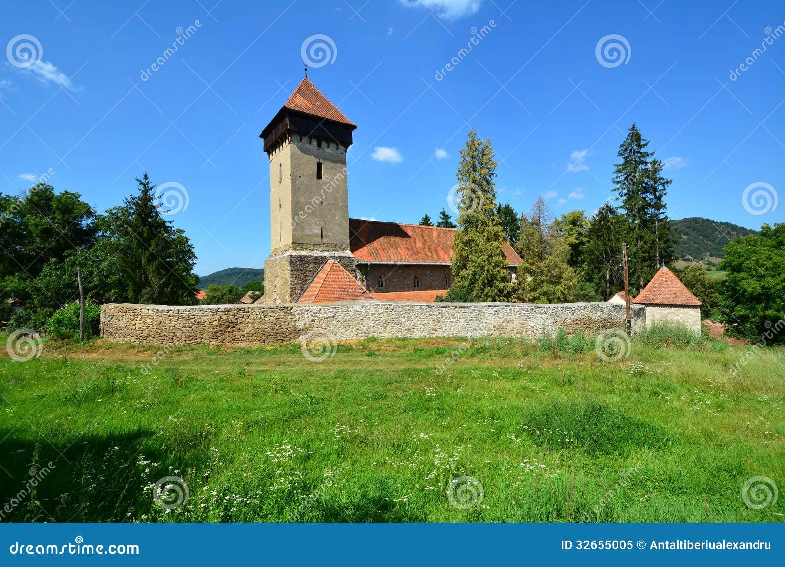 Paisaje con la iglesia fortificada