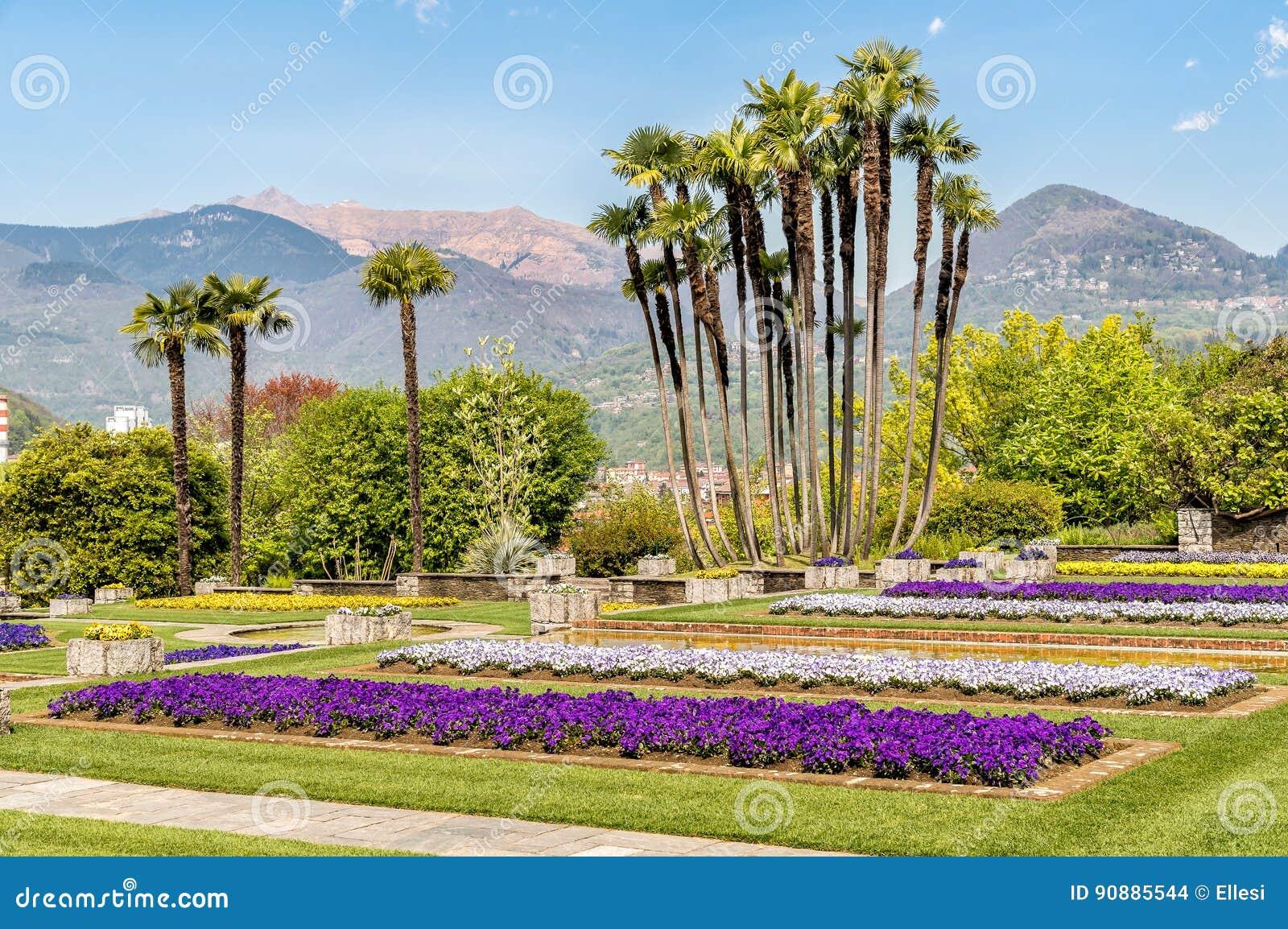 paisaje de jardines botnicos del chalet taranto con las flores y las palmas coloridas pallanza italia