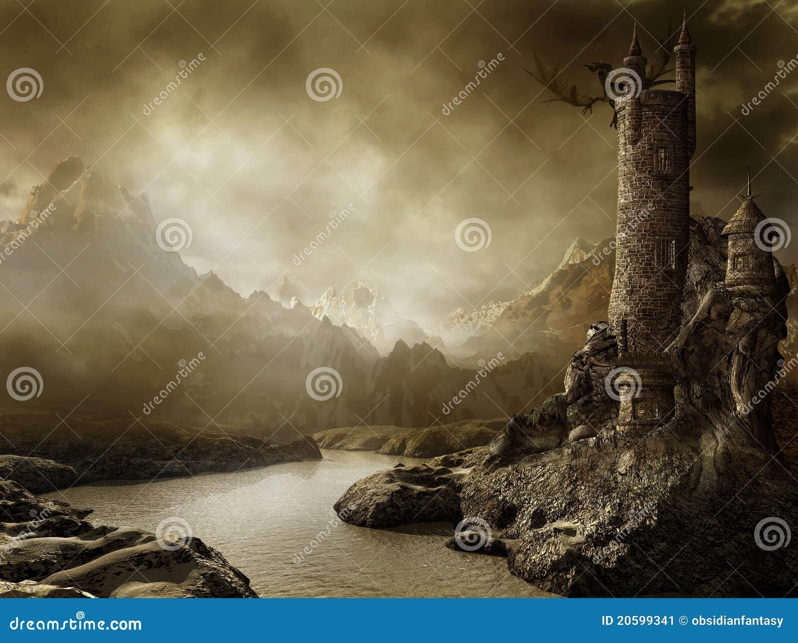 Paisaje de la fantasía con una torre