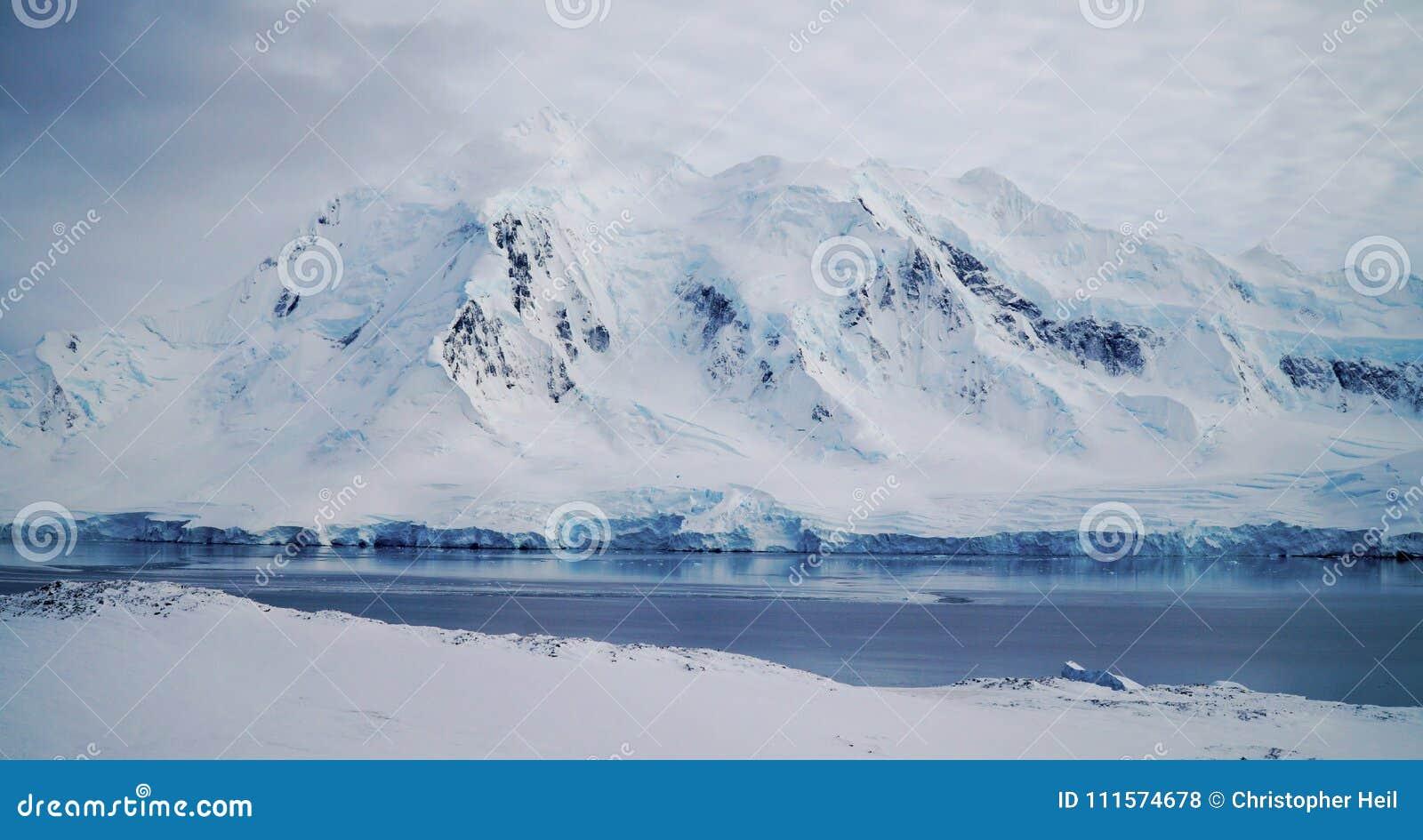Paisaje de la isla/de Dorian Bay de Wiencke con las montañas nevosas en la Antártida