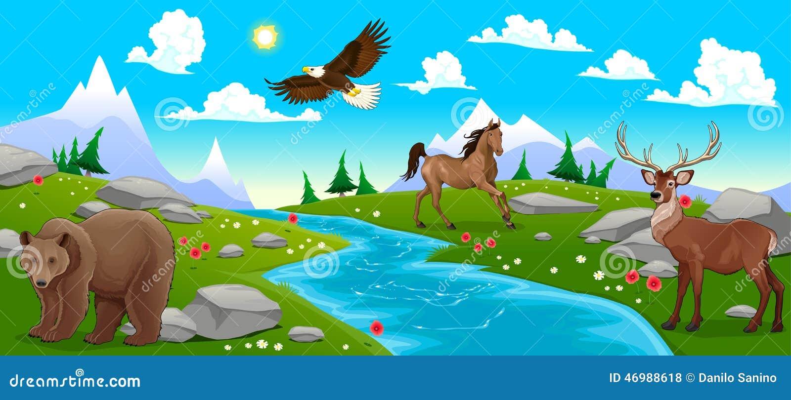 Paisaje de la montaña con el río y los animales