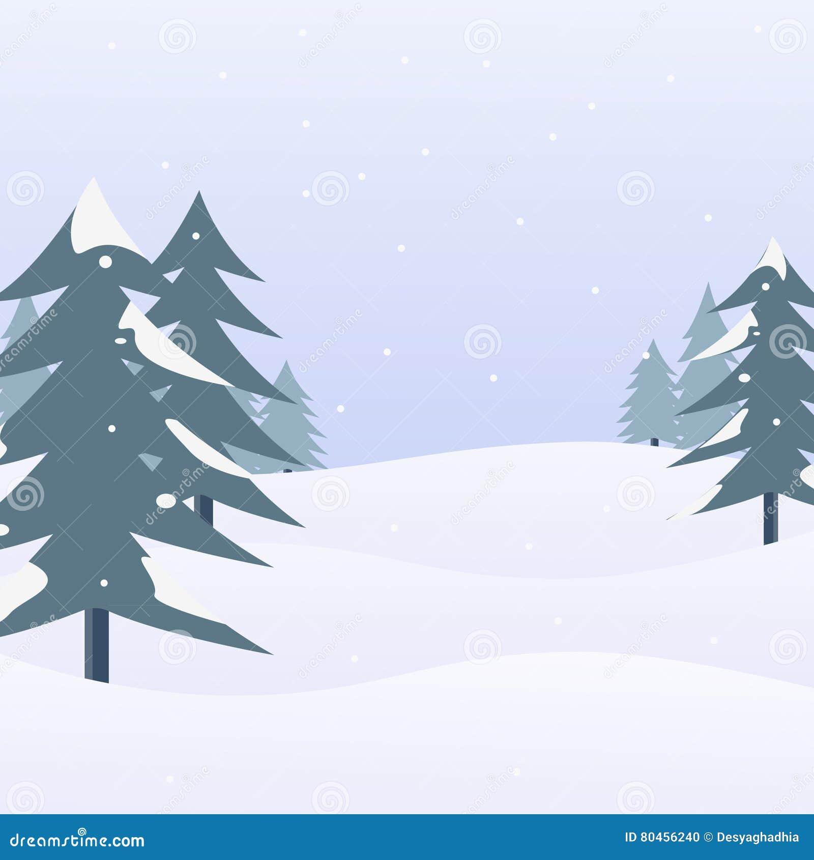 Paisaje de la nieve con los árboles de pino Escena y fondo del invierno Ilustración del vector