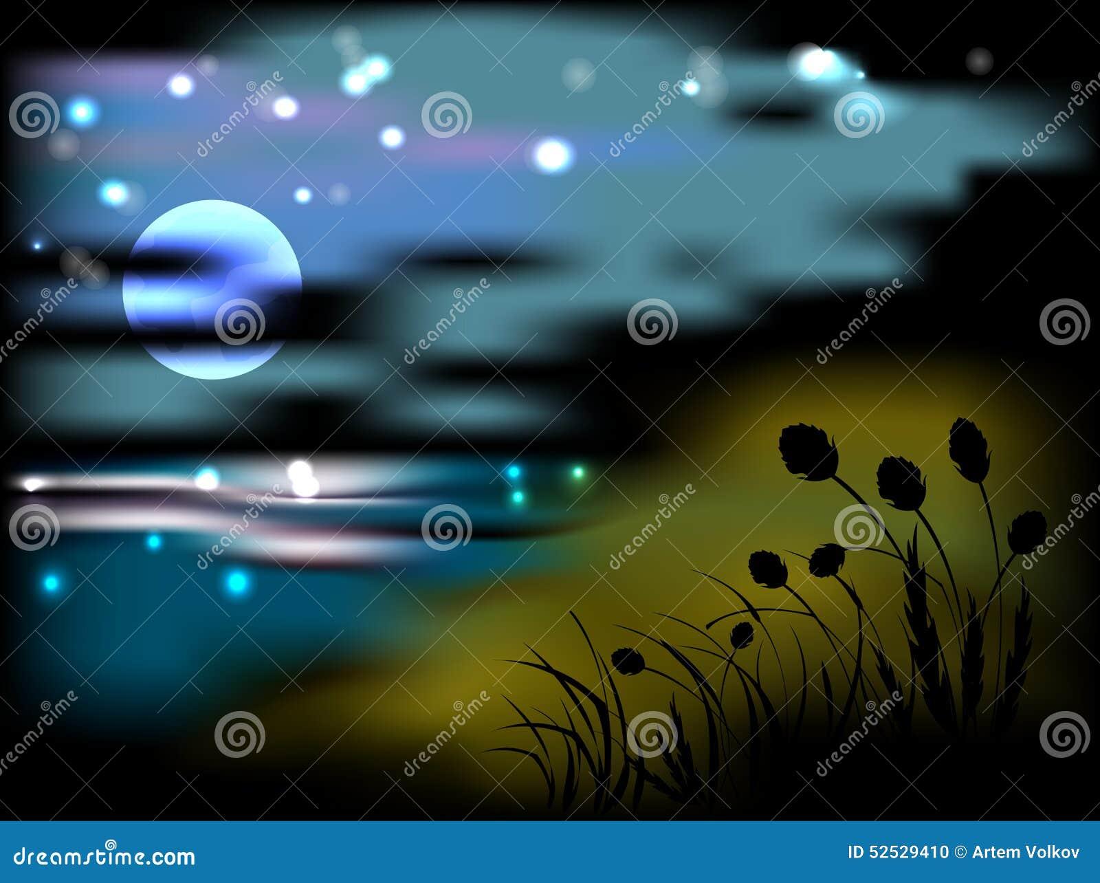 Paisaje De La Noche Con La Luna Y Las Estrellas
