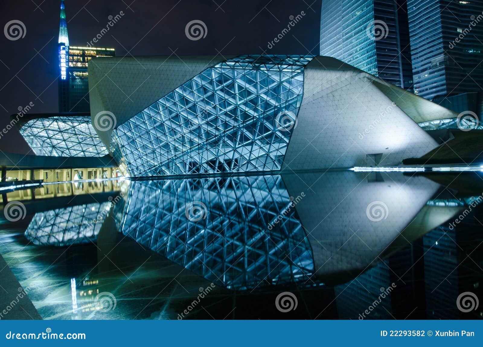 Paisaje de la noche del teatro de la ópera de Guangzhou