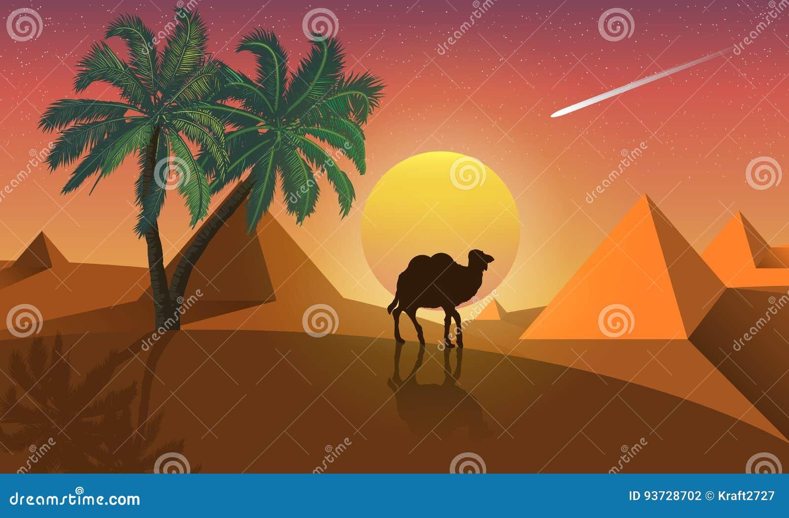 Paisaje De La Palma Y Del Camello En Un Fondo De Las Pirámides Del ...
