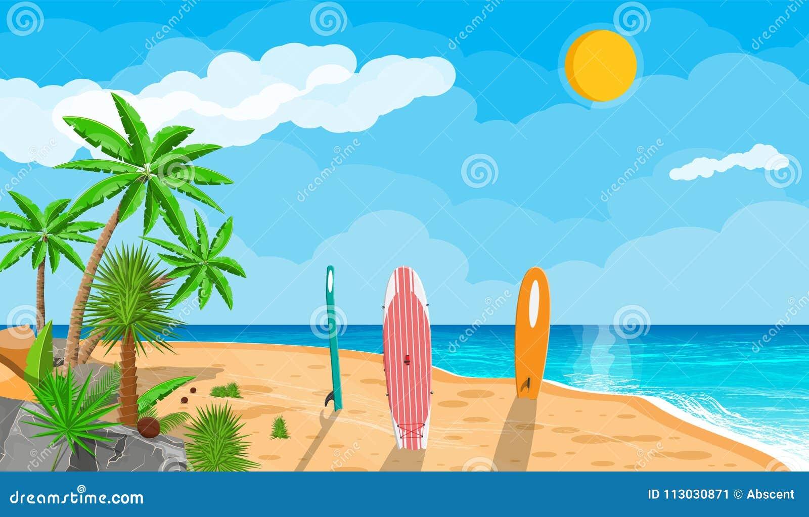Paisaje de la palmera en la tabla hawaiana de la playa