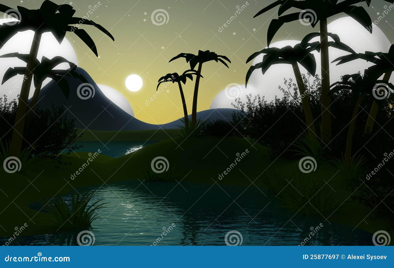 Paisaje de la selva 3d en la noche