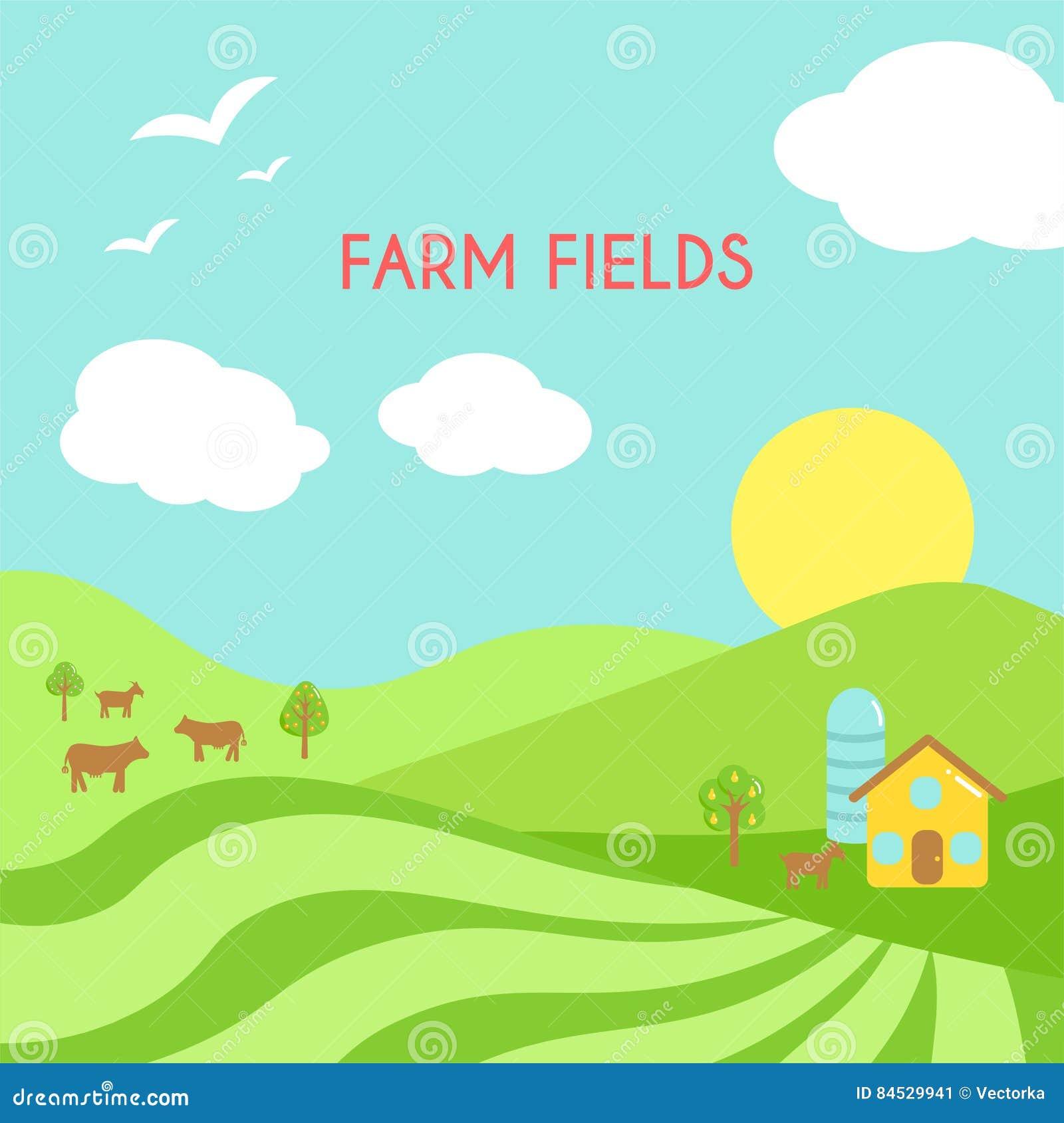 Paisaje de los campos de granja Campo verde de la historieta de la siembra