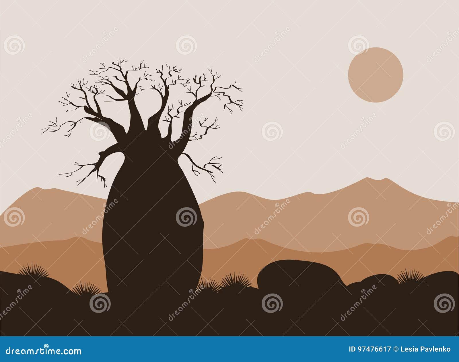 Paisaje del árbol del baobab con el fondo de las montañas Silueta del baobab Salida del sol africana