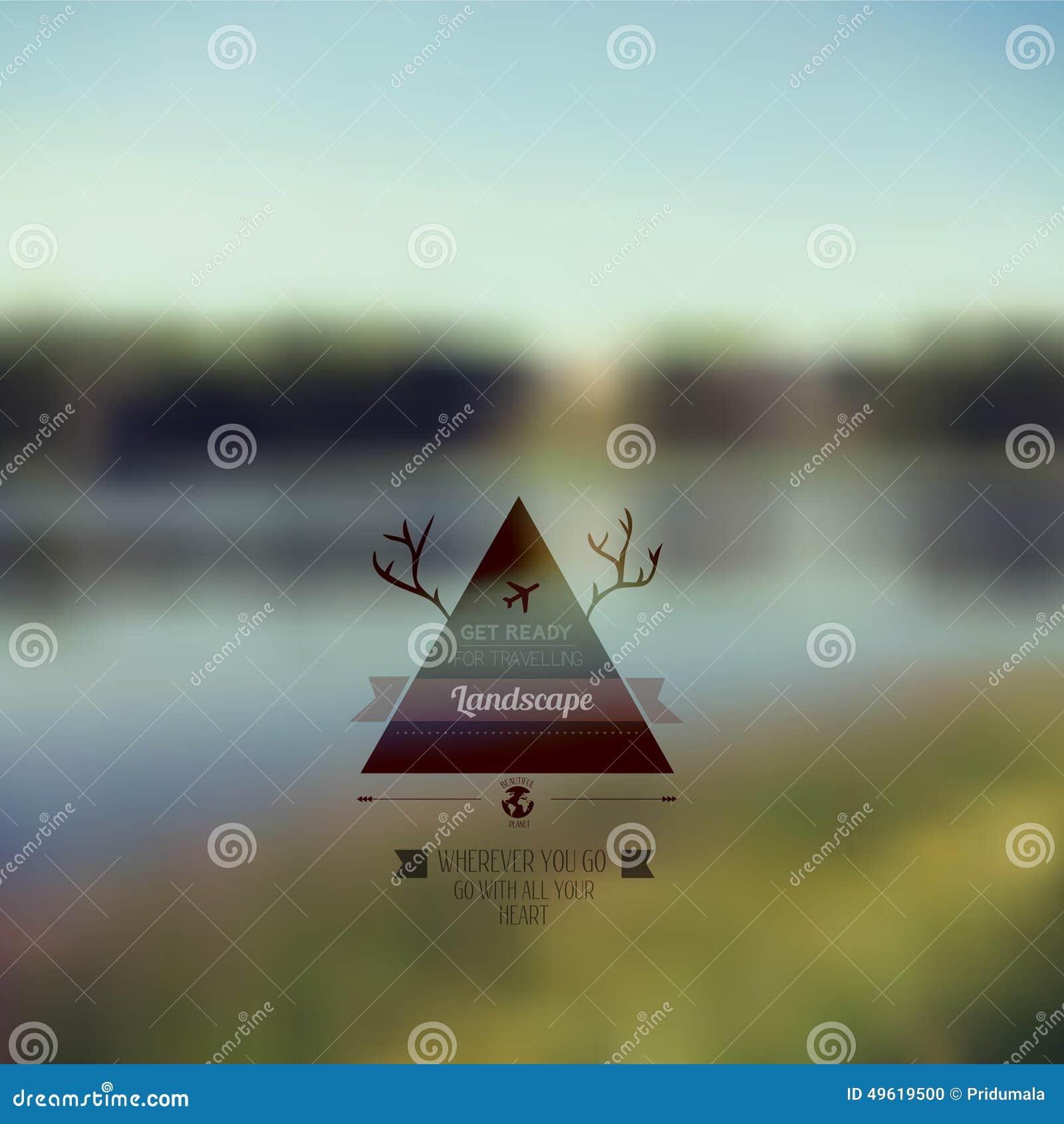 c1e43b6f03b1c Paisaje del bosque del vector con la insignia del triángulo outdoor  Naturaleza del campo con la insignia del inconformista Diseño retro de la  etiqueta del ...