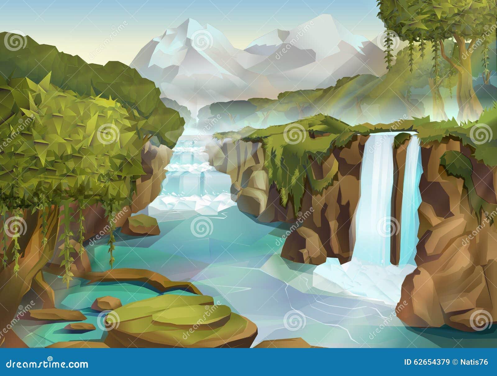 Paisaje del bosque y de la cascada