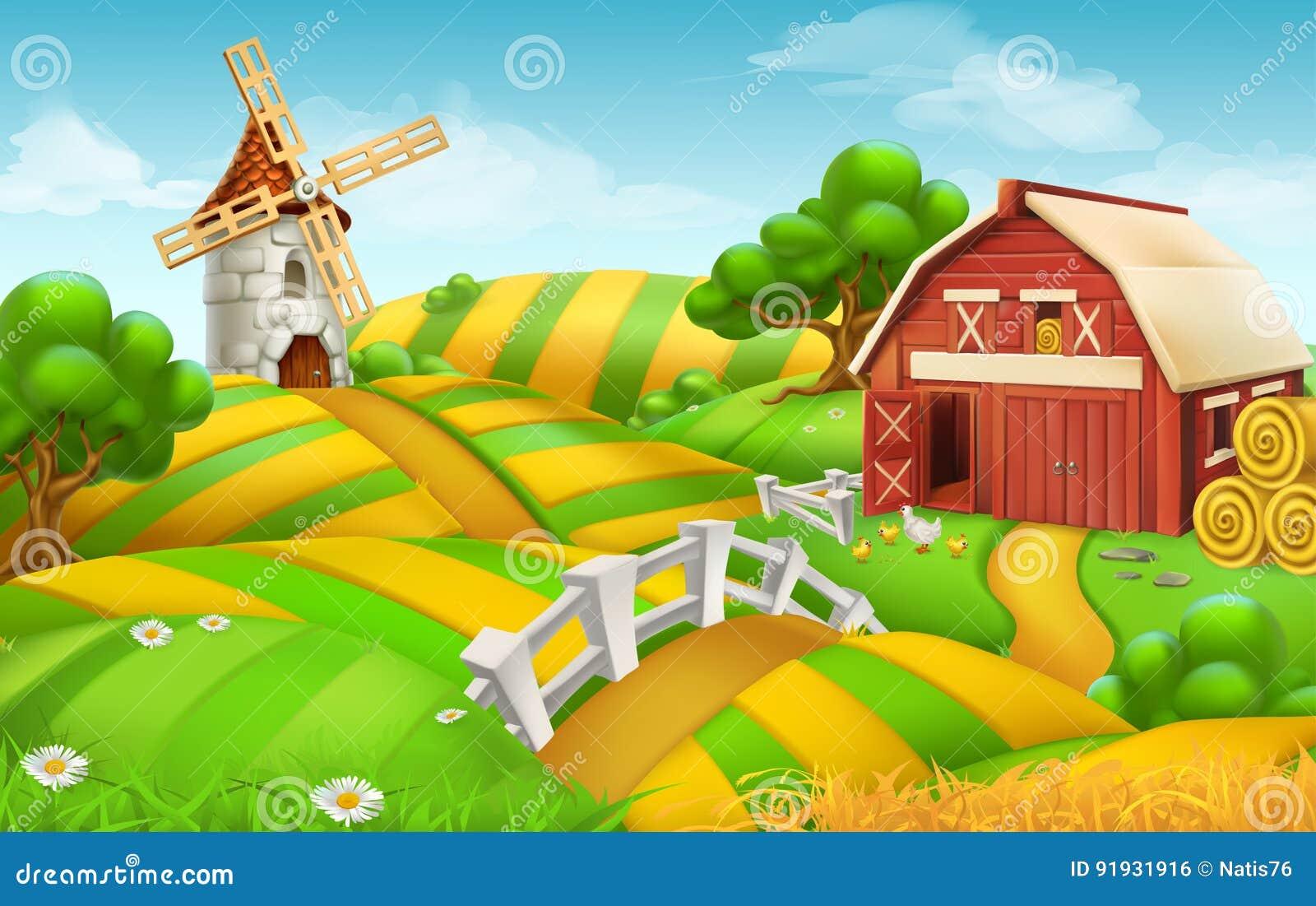 Paisaje del campo de granja, fondo del vector
