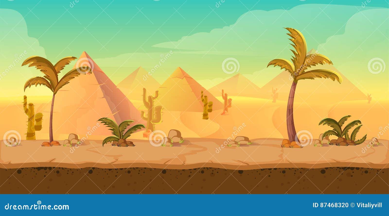 Paisaje del desierto de la arena de la naturaleza de la historieta con las palmas, las hierbas y las montañas Ejemplo del estilo