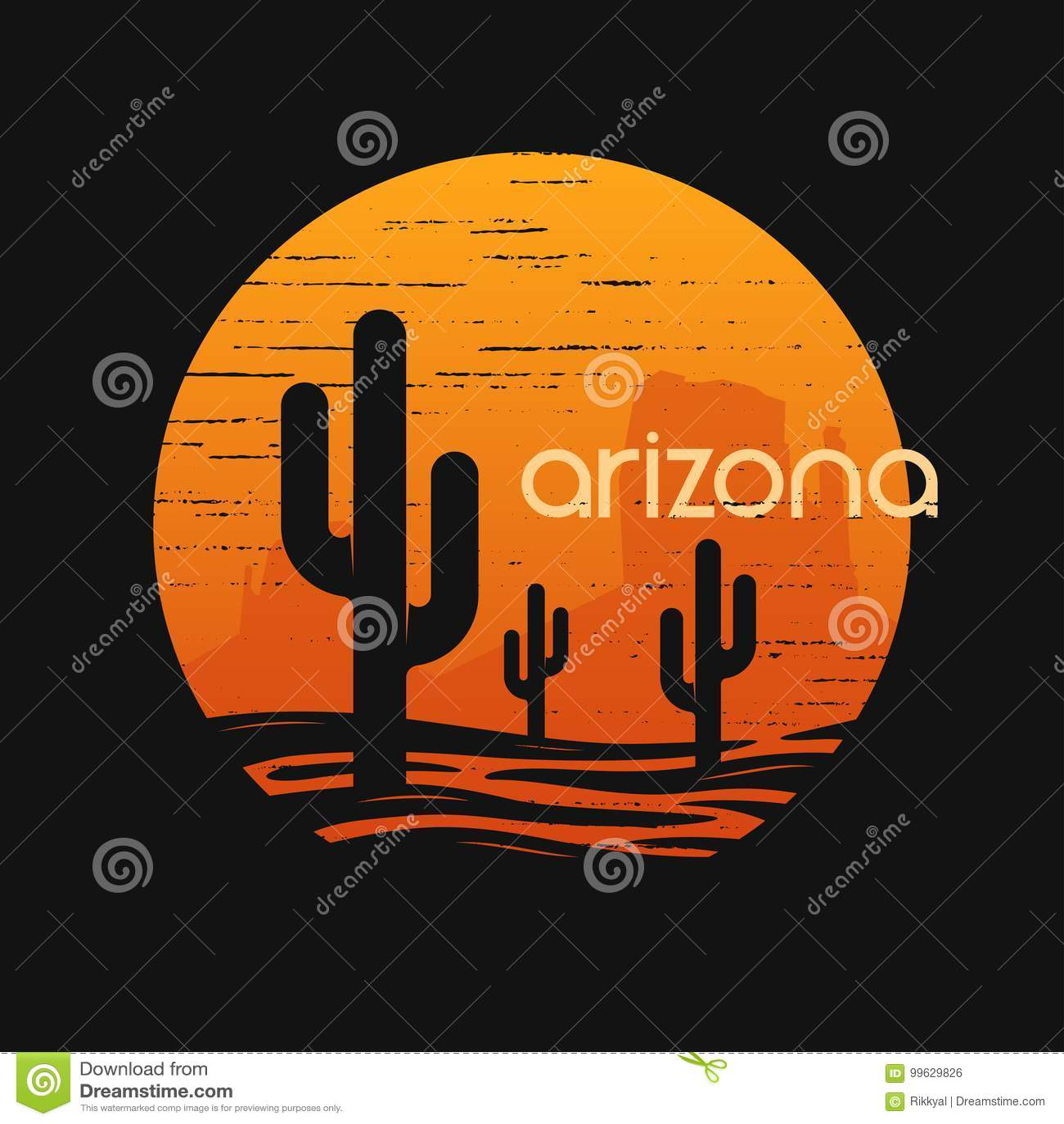 Paisaje del estado de Arizona Diseño del vector de la camiseta