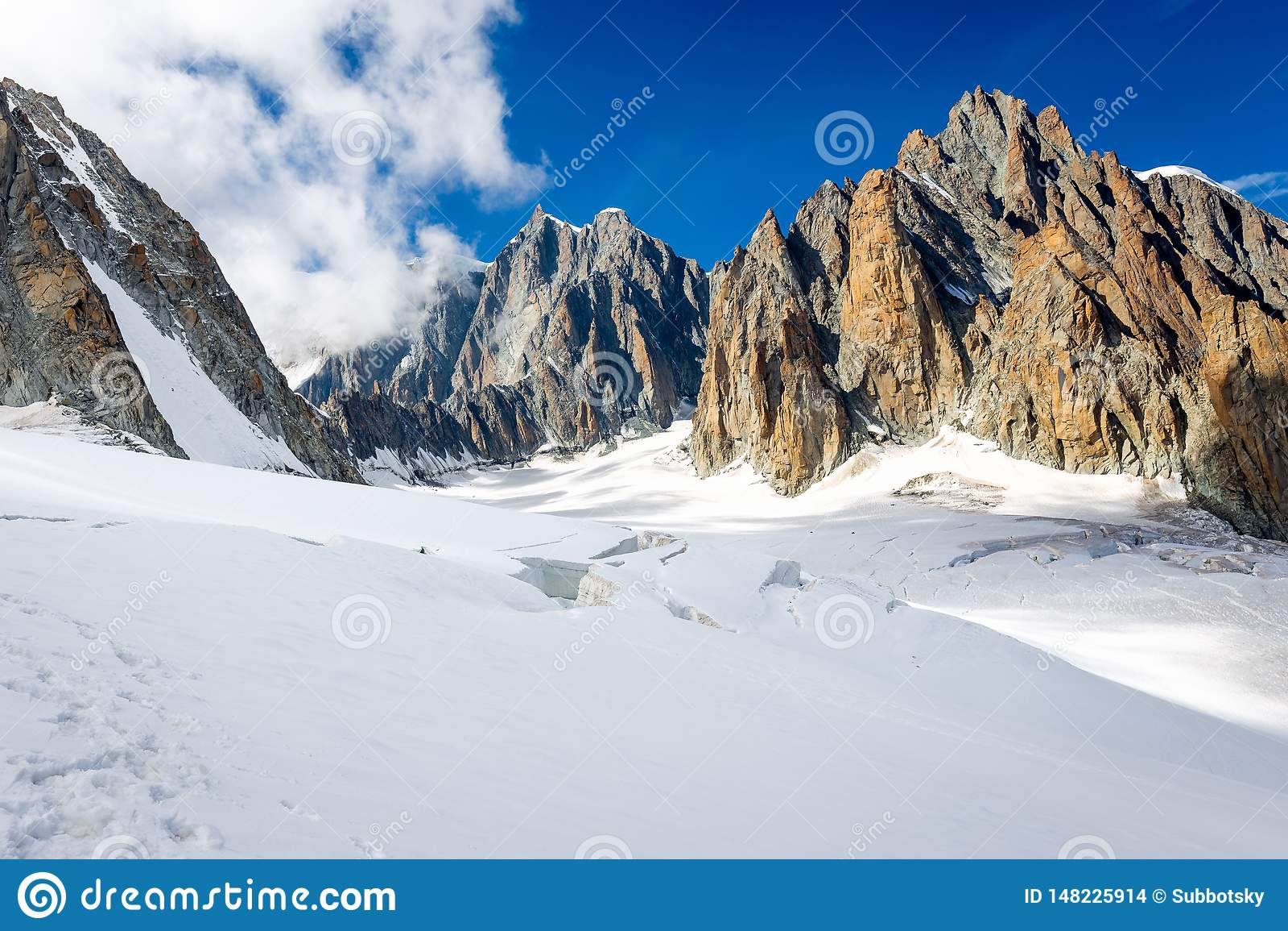 Paisaje del glaciar de las cumbres del canto de las monta?as de las monta?as, macizo de Mont Blanc