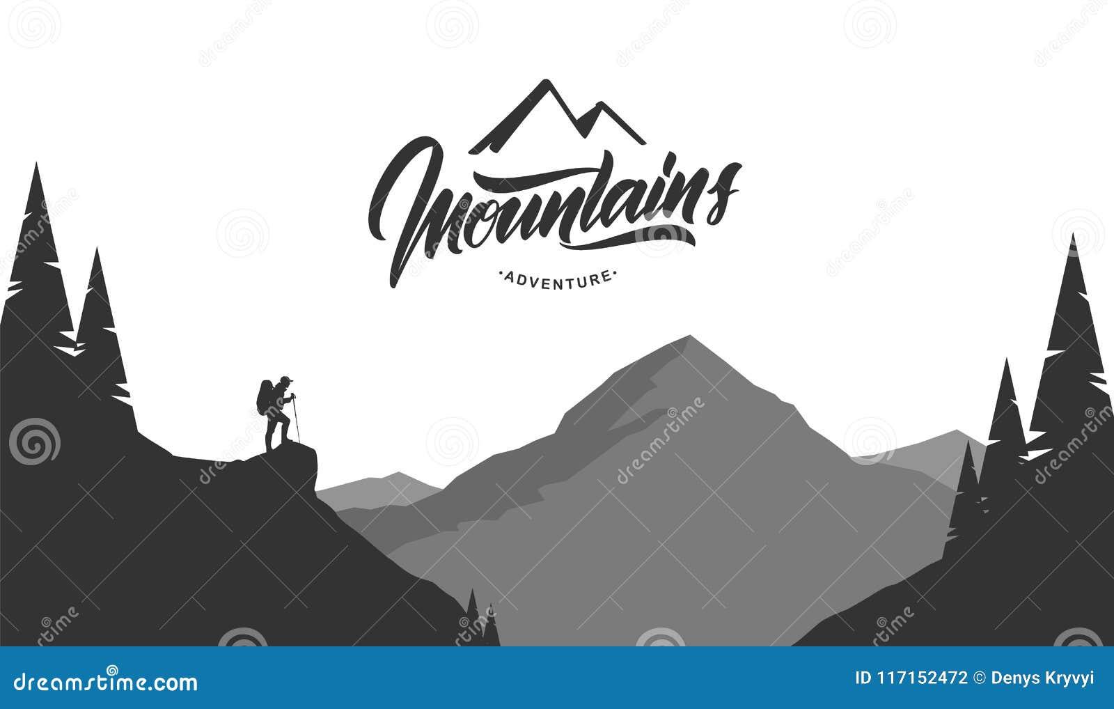 Paisaje del grayscale de las montañas de la historieta con el caminante en primero plano