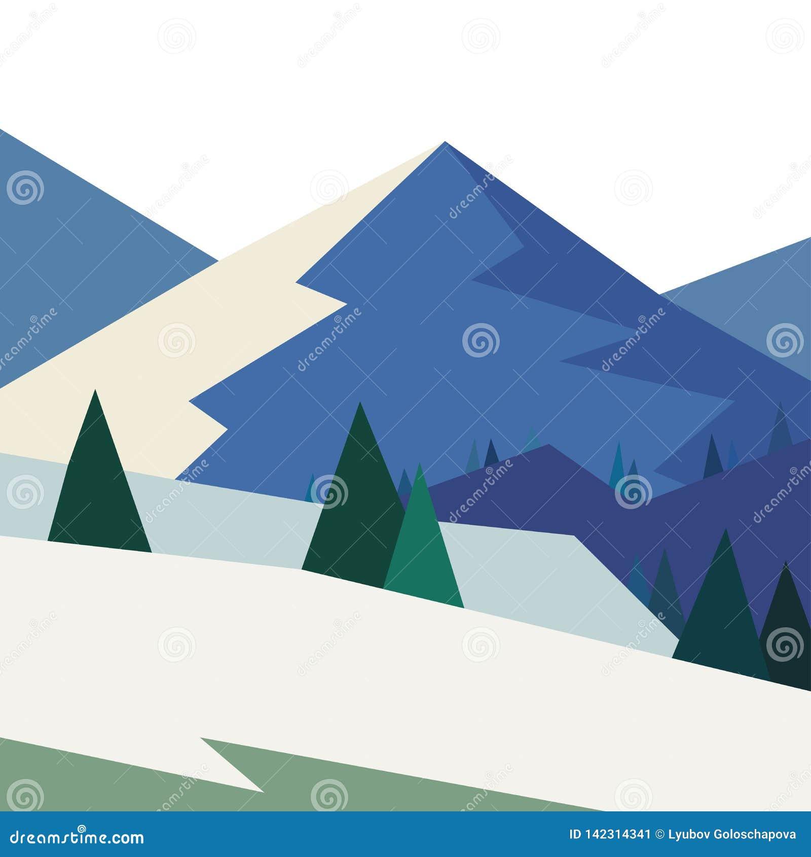 Paisaje del invierno con las montañas en estilo geométrico