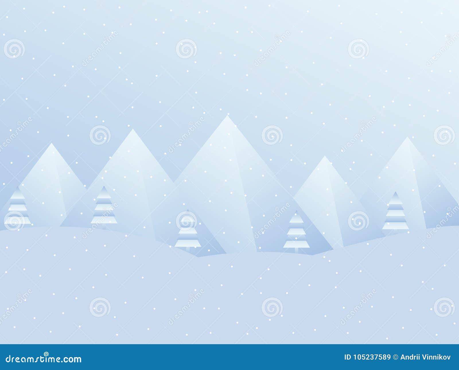 Paisaje del invierno con las montañas Un fondo festivo para la Navidad, Año Nuevo Vector