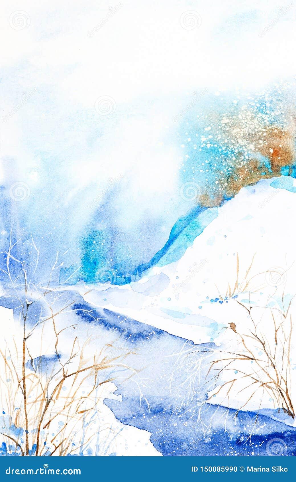 Paisaje del invierno de la acuarela Valle nevado con la corriente y los árboles actuales