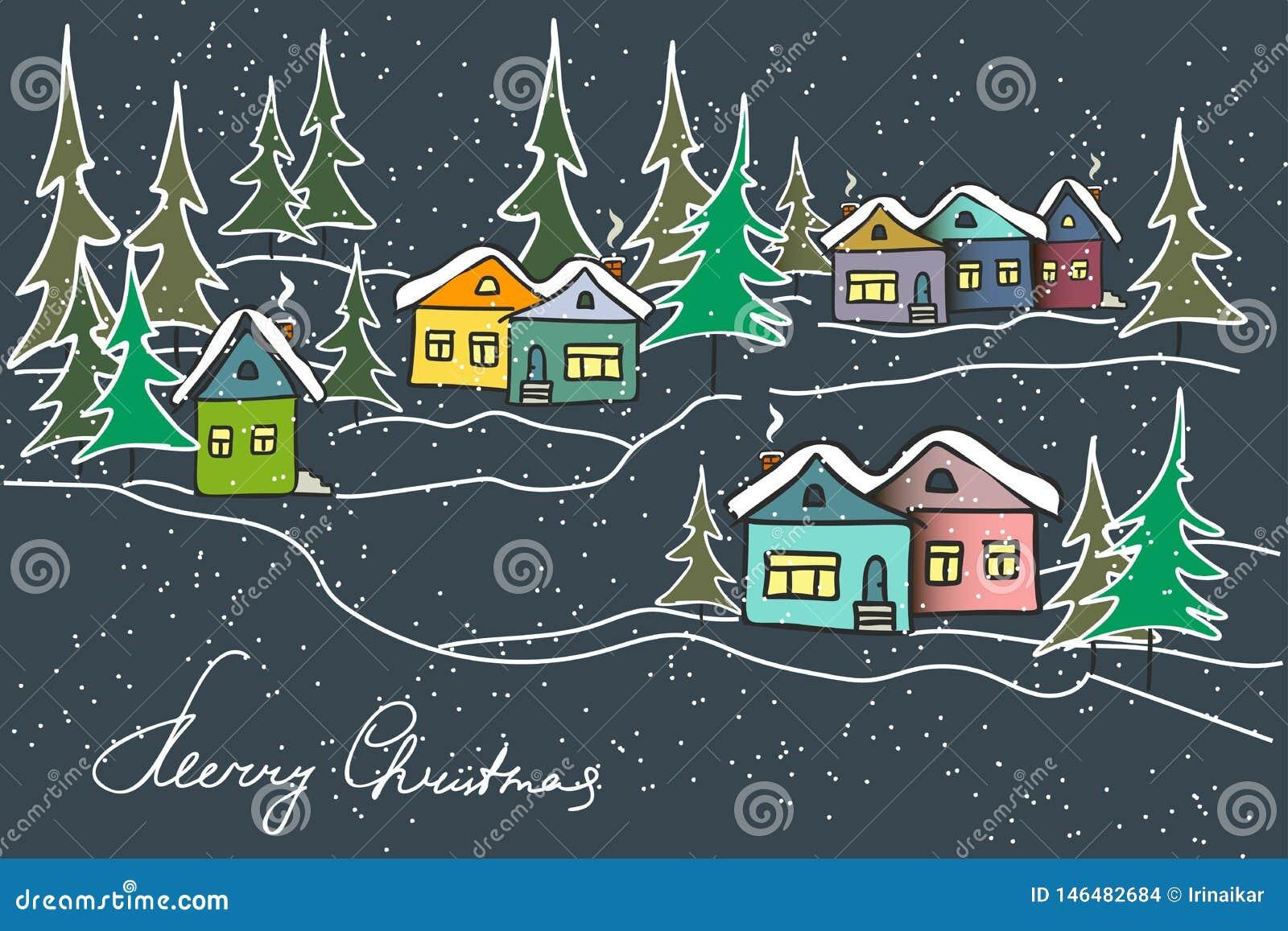 Paisaje del invierno de la noche Casas multicoloras del caramelo, abetos