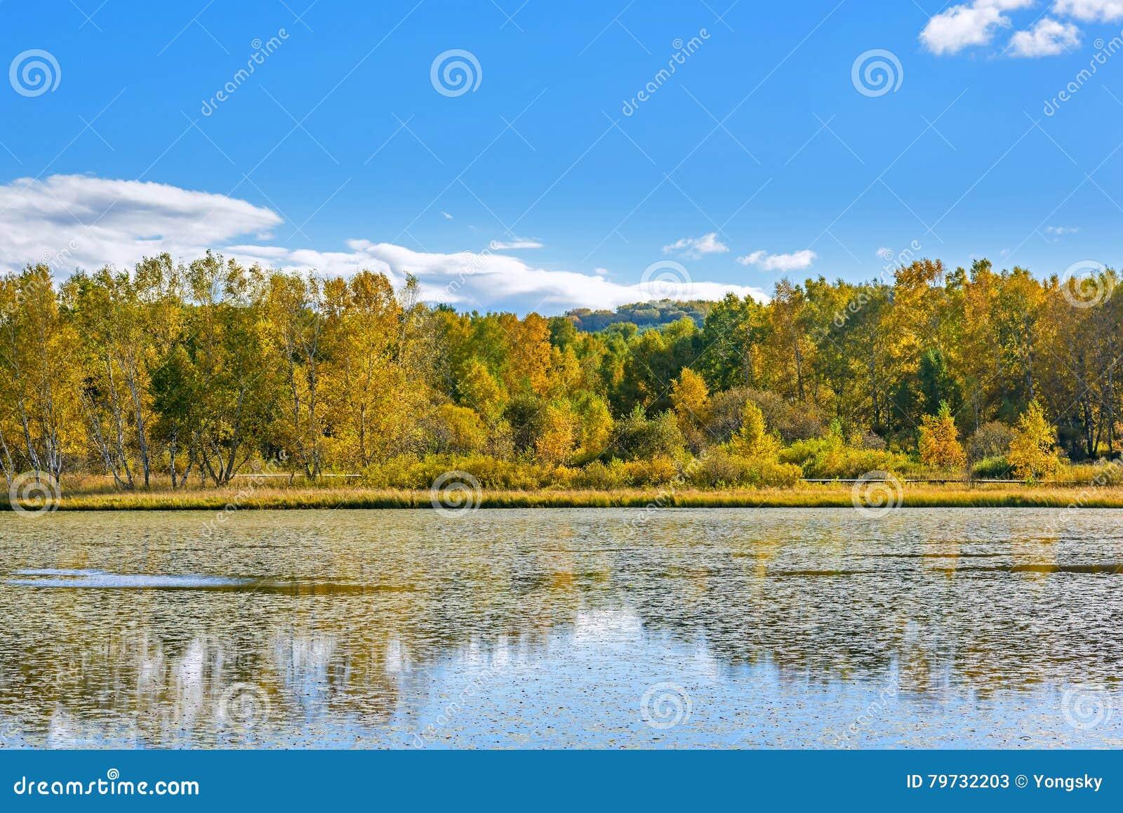Paisaje del otoño del lago the Sun