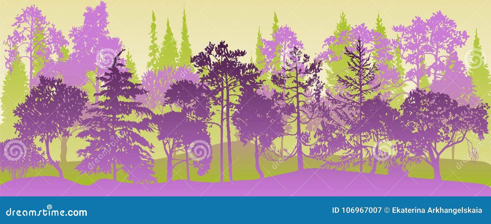 Paisaje del vector con los árboles de pino