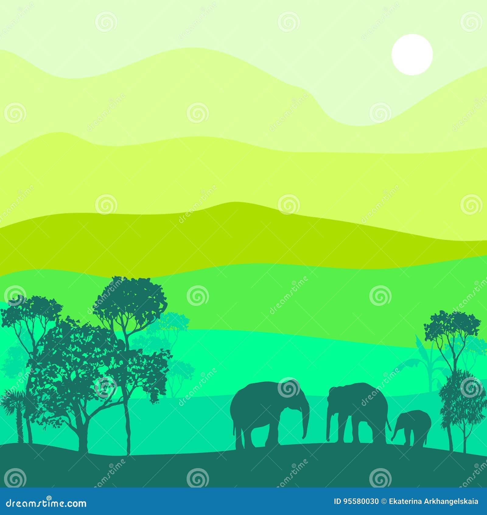 Paisaje del vector con los elefantes