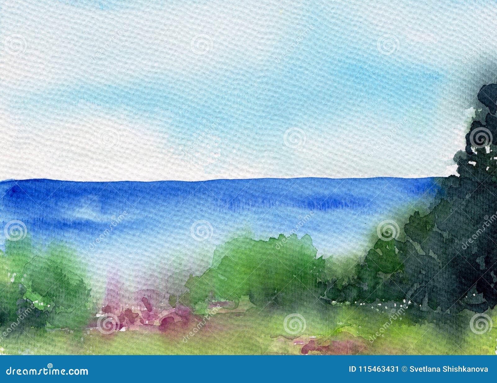 Paisaje del verano con el lago o río, bosque y prado Paisaje hermoso Ilustración de la acuarela Bosquejo colorido de la naturalez