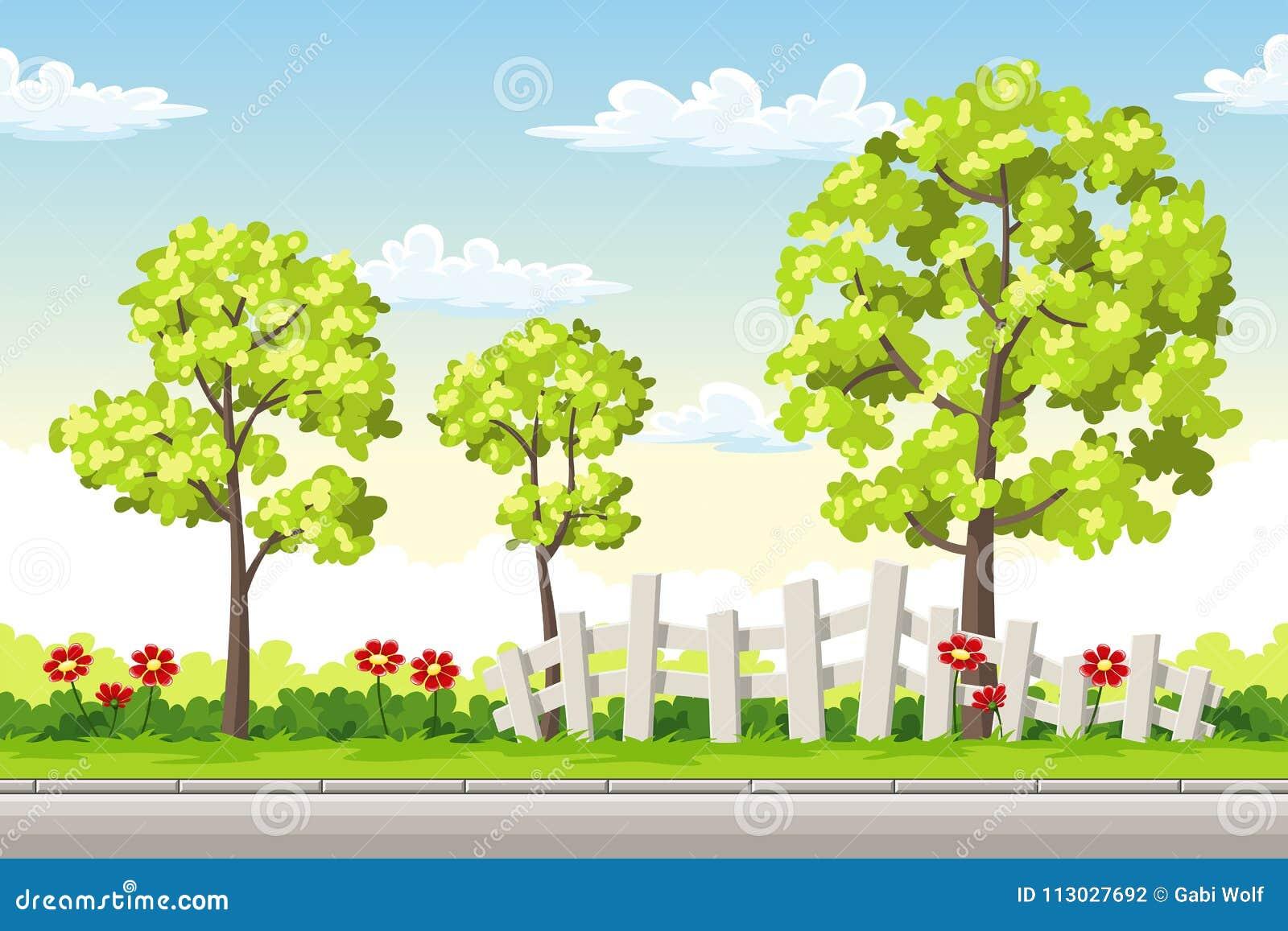 Paisaje del verano con los árboles y las flores