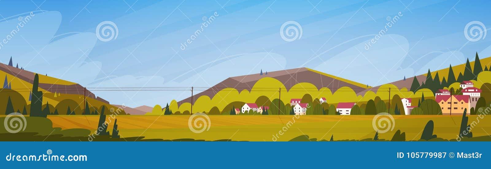 Paisaje del verano de las montañas de la naturaleza con la bandera horizontal del pequeño pueblo