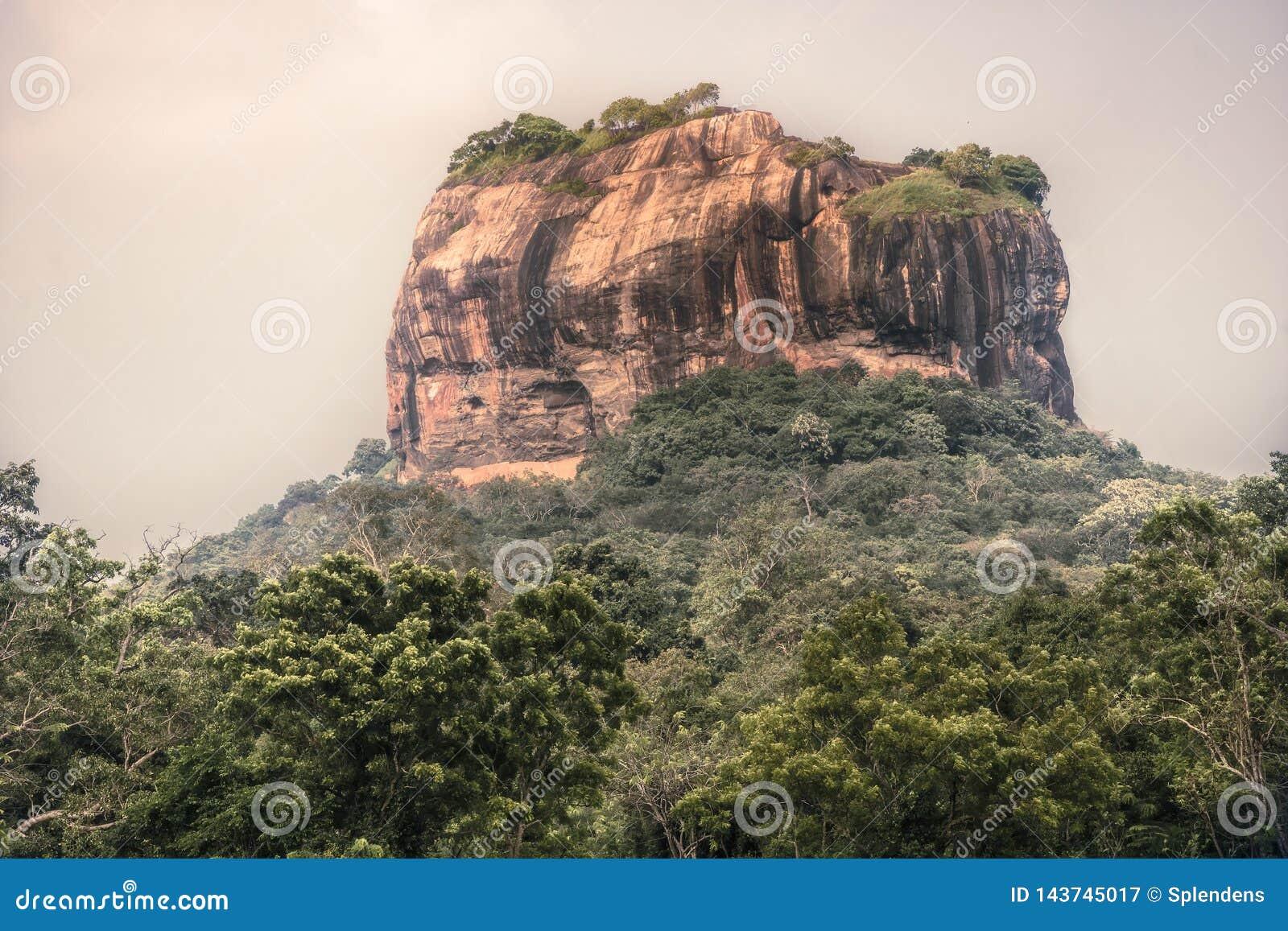 Paisaje del viaje de Sri Lanka de la se?al Sri Lanka de la UNESCO de la monta?a de la roca del le?n de Sigiriya