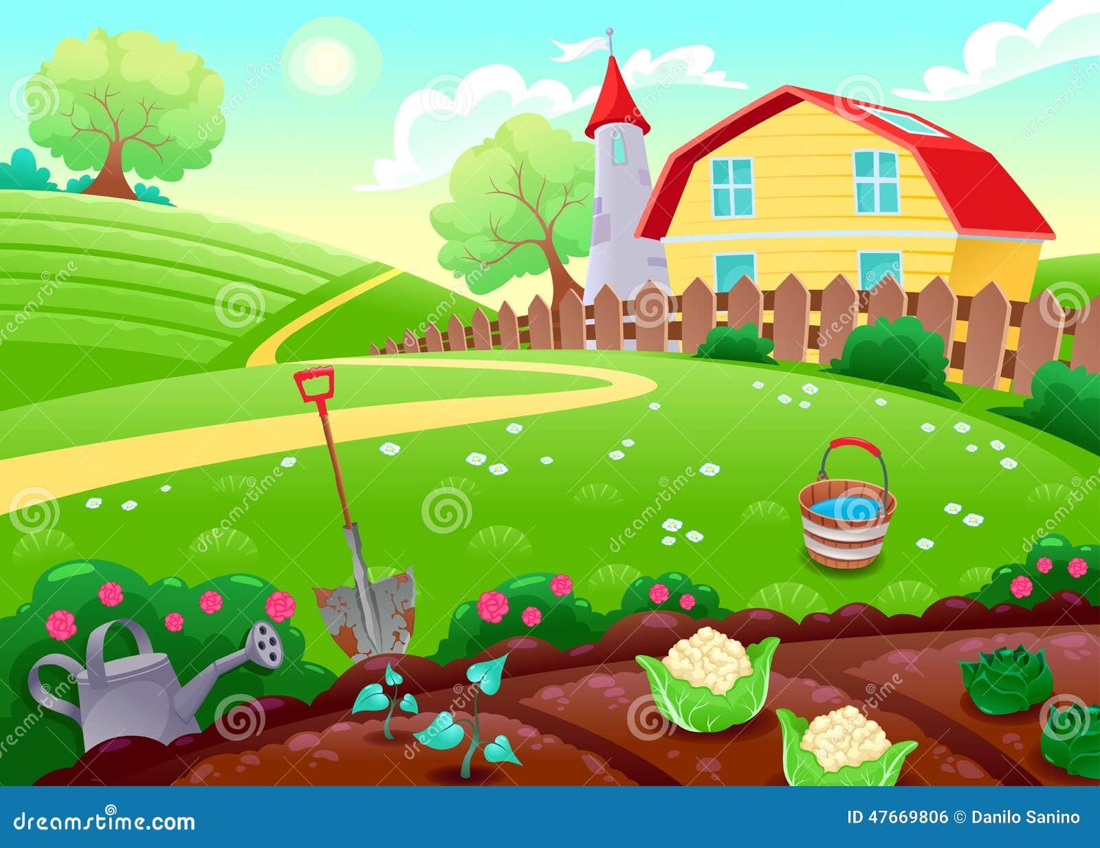 Paisaje divertido del campo con el huerto