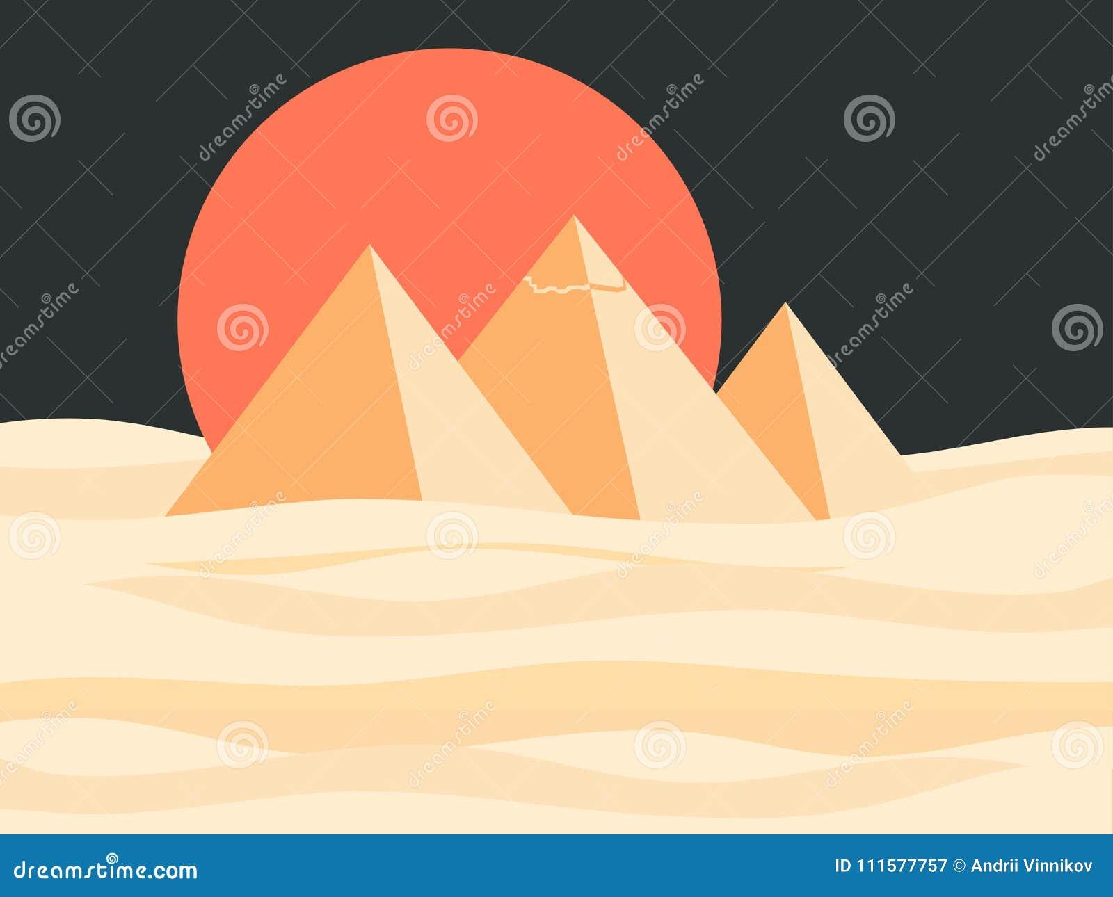 Paisaje Egipcio De Las Pirámides Sol Rojo En El Desierto Atracciones ...