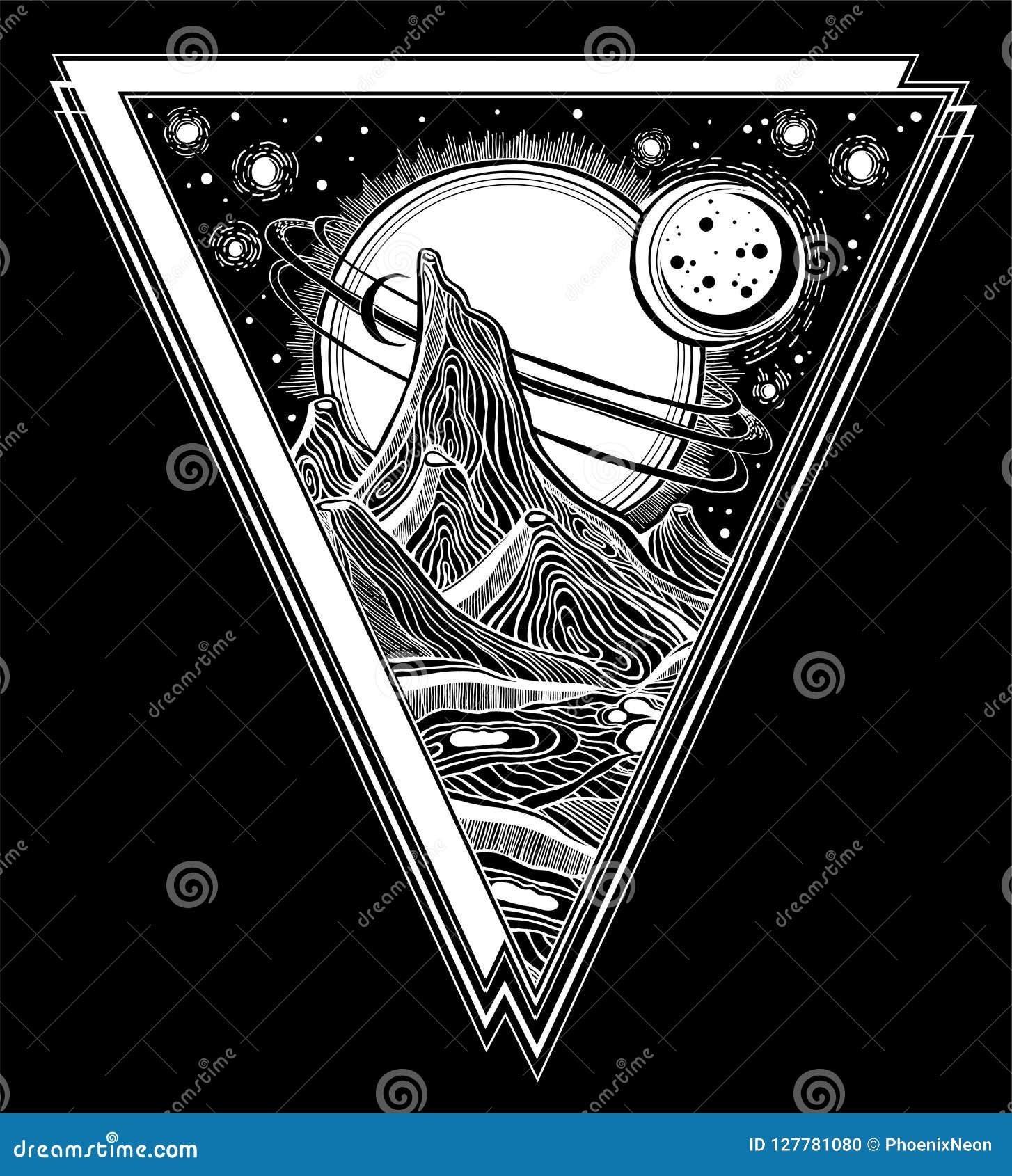 Paisaje extranjero de la fantasía, ejemplo del espacio de vector