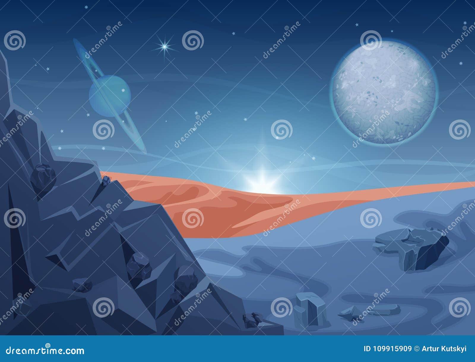 Paisaje extranjero del misterio de la fantasía, otra naturaleza del planeta con las rocas y planetas en cielo Espacio de la galax